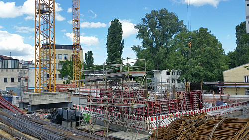 View at the construction site for our new building at Englischer Garten